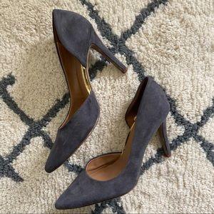 EUC Merona gray suede d'orsay heels/pumps